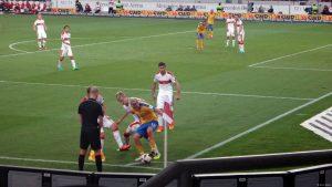 Die VfB-Defensive hatte die Braunschweiger im Griff. Bild © Eric Späte