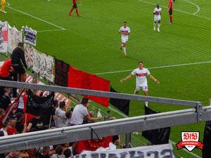 Einer von zwei Torjubeln vorm voll besetzten Gästeblock - leider ohne Happy End. Bild: © VfB-Bilder.de