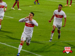 Was für's Herz: Erik Thommy jubelt über das 2:0. Bild: © VfB-Bilder.de