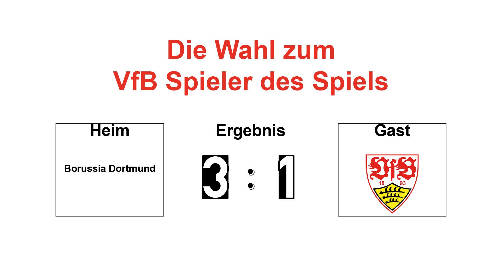 Wahl zum VfB Spieler des Spiels #BVBVfB 09.03.2019