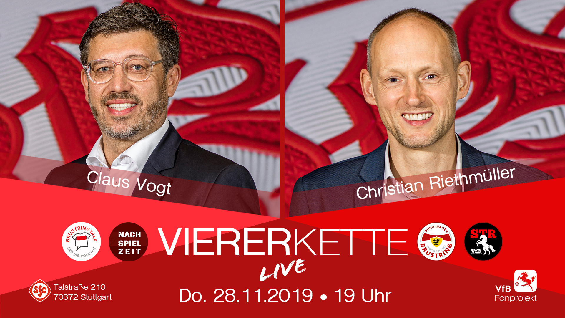 Die VfBVIERERKETTE live kommt zurück – mit Claus Vogt und Christian Riethmüller
